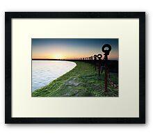 Golden Sunrise, Ocean Chains Newcastle Beach Framed Print
