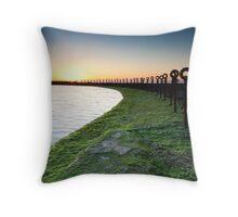 Golden Sunrise, Ocean Chains Newcastle Beach Throw Pillow