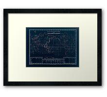 Atlas zu Alex V Humbolt's Cosmos 1851 0152 Electro Magnetic World Map Inverted Framed Print