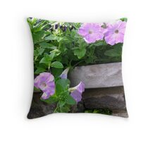 Soft Petunias and a Stone Wall Throw Pillow