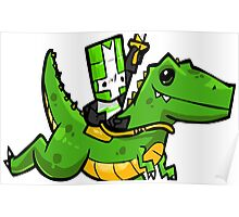 Green Knight ride Dinosaur Poster