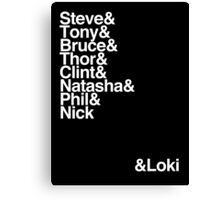 ALL the Avengers! (White type) Canvas Print