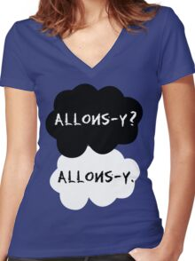 allons-y? allons-y. Women's Fitted V-Neck T-Shirt