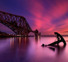Forth Rail Bridge Sunset by Angus Clyne