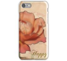 Peach Rose Birthday Card iPhone Case/Skin
