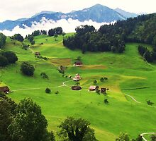Sun on the Swiss Green Valley  by MichelleRees
