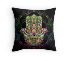 Hamsa Amulet Psychedelic Throw Pillow