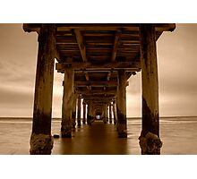 Dusk Under Seaford Pier in Sepia Photographic Print