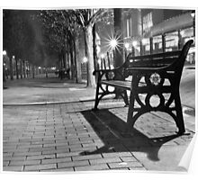 Bench at night - Salford Quays, Manchester Poster