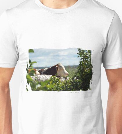 Cow Sunbathing on a log Unisex T-Shirt