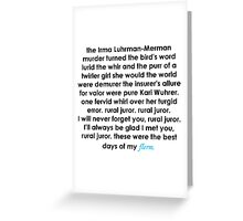 Rural Juror Lyrics Greeting Card