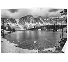 Medicine Bow Lake View in Black and White Poster