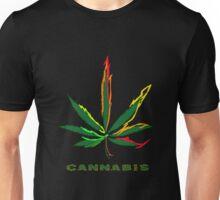 Crazy Marijuana Leaf and word Cannabis Unisex T-Shirt