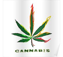 Crazy Marijuana Leaf and word Cannabis Poster