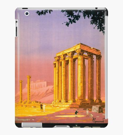 Greece Vintage Travel Poster Restored iPad Case/Skin