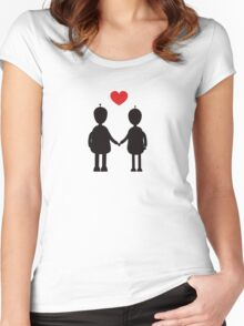 Robots in Love Women's Fitted Scoop T-Shirt