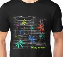 Colorful Marijuana Leaves and Scratches Unisex T-Shirt