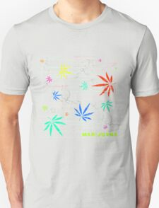 Colorful Marijuana Leaves and Scratches T-Shirt