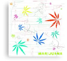Colorful Marijuana Leaves and Scratches Canvas Print