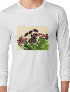 Burgundy Petals Long Sleeve T-Shirt