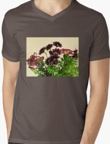 Burgundy Petals Mens V-Neck T-Shirt