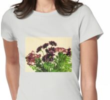 Burgundy Petals Womens Fitted T-Shirt