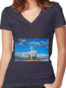 MT. SOLEDAD CROSS Women's Fitted V-Neck T-Shirt