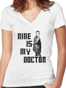 nine is my doctor Women's Fitted V-Neck T-Shirt