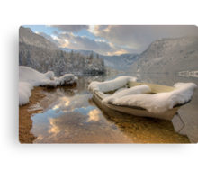Snowy lake. Canvas Print