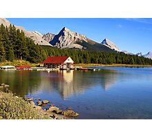 Historic Boathouse at Maligne Lake, Jasper NP Photographic Print