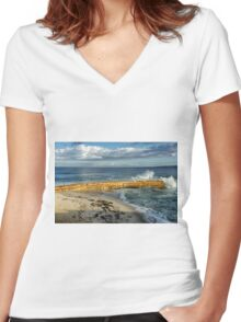 WAVE MEETS SEAWALL Women's Fitted V-Neck T-Shirt