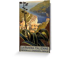 La Riviera Italienne Vintage Travel Poster Restored Greeting Card