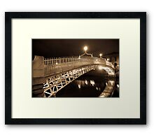 Ha' Penny Bridge at night - Dublin Framed Print