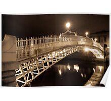 Ha' Penny Bridge at night - Dublin Poster