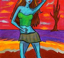 Blue Woman In Red Desert With Crescent Moon by Fiona Lokot