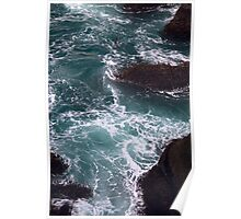 Churning Ocean and Rocks Poster