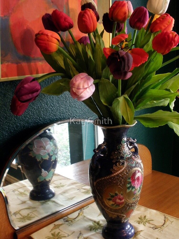 Tulips in Blue Antique Vase by Kay Smith