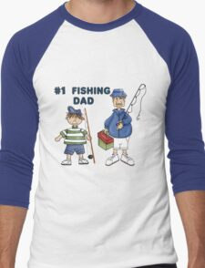 Number #1 Fishing Dad Men's Baseball ¾ T-Shirt