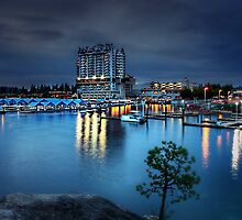 Coeur d'Alene Resort at night from Tubbs Hill by scarlett131