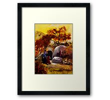 Mary, Mary And Salome At The Tomb Of Jesus Framed Print