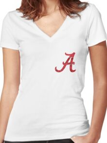Alabama Crimson Wood Women's Fitted V-Neck T-Shirt