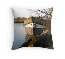 Barge on the Thames on a Winter Afternoon Throw Pillow