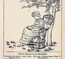 Miniature Under the Window Pictures & Rhymes for Children Kate Greenaway 1880 0029 What Bessie Was Reading by wetdryvac