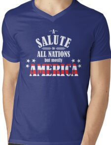 A Salute to All Nations (But Mostly America) Mens V-Neck T-Shirt