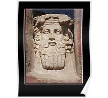 Greek God? Roman God, Janus? Stone Head  Poster