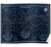 Atlas zu Alex V Humbolt's Cosmos 1851 0140 Die Sternen Welt The Starry World Inverted Poster