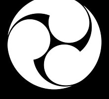 Tomoe, Japan, Japanese, Shinto symbol, Plain & Simple, White on Black by TOM HILL - Designer