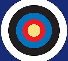 Bulls Eye, Right on Target, Roundel, Archery, on Dark Blue by TOM HILL - Designer