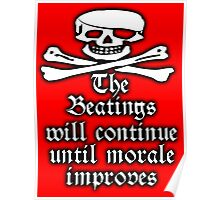 Pirate, Morale, Skull & Crossbones, Buccaneers, WHITE on RED Poster