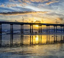 SUNSET AT THE PIER by joseph s  giacalone
